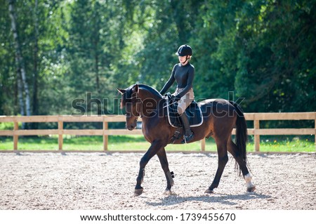 Training process. Young teenage girl riding bay trotting horse on sandy arena practicing at equestrian school. Colored outdoors horizontal summertime image with filter Royalty-Free Stock Photo #1739455670