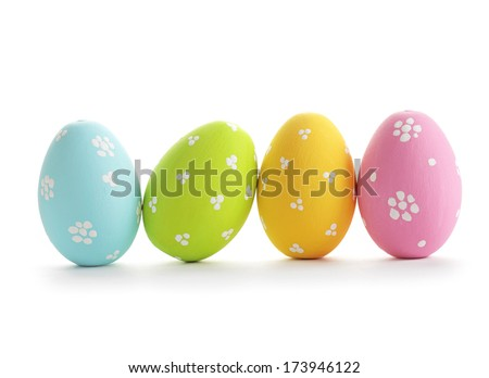 easter eggs isolated on white Royalty-Free Stock Photo #173946122