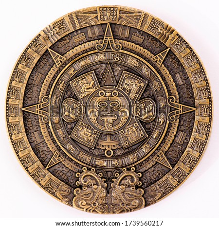 Maya Gold Plated Coin MEXICO Mayan Prophecy Ancient Calendar Souvenir Coin VINTAGE. Collection. Royalty-Free Stock Photo #1739560217
