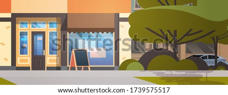 modern city street with empty no people coffee shop urban building house exterior cityscape closeup horizontal vector illustration Royalty-Free Stock Photo #1739575517