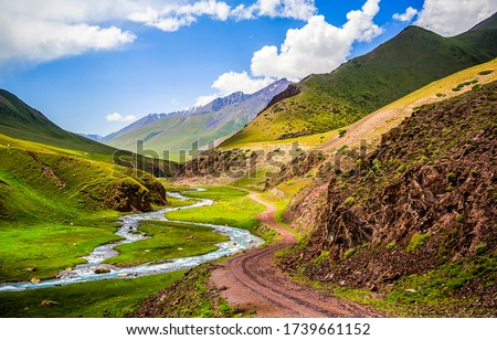Mountain hill valley river creek landscape. Mountain river valley landscape. Mountain valley view #1739661152