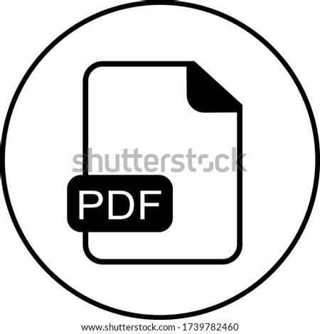 Pdf file, document icon. Free flat design, black and white vector.