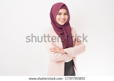 Beautiful business woman with hijab portrait on white background  Royalty-Free Stock Photo #1739785802