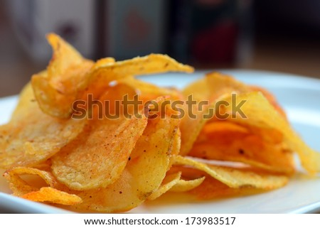 A tasty pile of crisps ready to eat #173983517