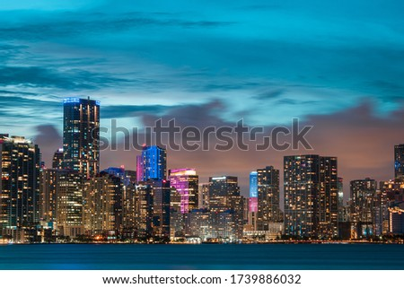 Picture of the Miami skyline. Long exposure picture of the city during sundown.