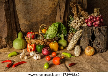 still life  Vegetables, Herbs and Fruits as ingredients in cooking. #173998862