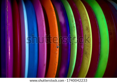 Picture of some disc golf discs.