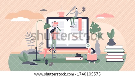 Self help books vector illustration. Support literature flat tiny persons concept. Life improvement strategy with learning psychological confidence and inspiration guide. Social quality skills method. Royalty-Free Stock Photo #1740105575