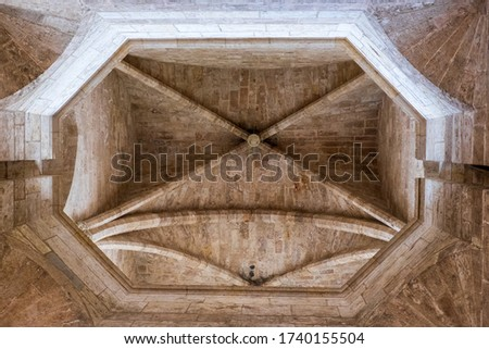 "Detail of the cross vault of the Tower of the ""Serranos"" #1740155504"