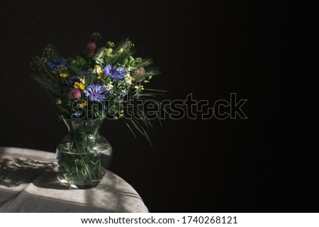 Romantic bouquet of the meadow flowers in a jar on a dark background  in sunlight.  Chamomiles and Cornflower in a jar. Place for text. #1740268121