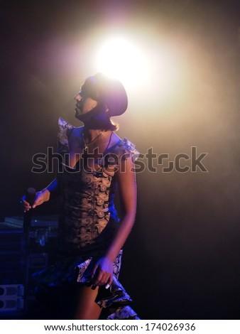 UKRAINE, LUGASK - September 13, 2013: The famous Ukrainian opera and jazz singer Jamala (Born Susana Dzhamaladinova) gave a the  concert in Luhansk. Jamala performs original music #174026936