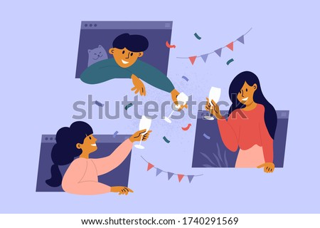 Online party, birthday, virtual meeting with friends. Man, women stay home, drink wine through computer windows. People celebrate event remotely. Video call during self isolation. Vector illustration. Royalty-Free Stock Photo #1740291569