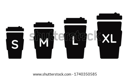 Coffee cup size S M L XL. Vector black illustration set