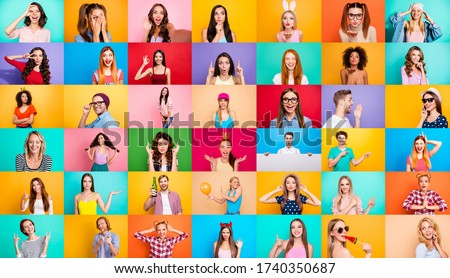 Photo collage of group video call funky cheerful excited astonished surprised people youngsters children bloggers having fun bright facial expressions isolated over multicolored background #1740350687