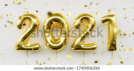 Happy New 2021 Year. Holiday gold metallic balloon numbers 2021 and falling confetti on white background #1740406286