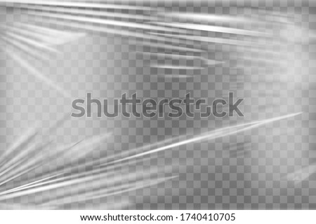 Transparent stretch plastic wrap texture. Realistic polyethylene wrapping stretch film background. Vector transparent cellophane package mockup #1740410705