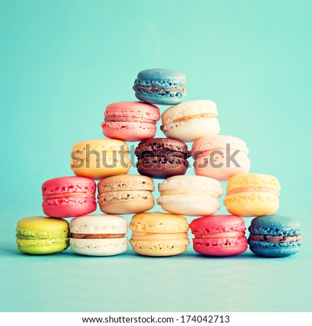 Sweet and colourful french macaroons on retro-vintage background  #174042713