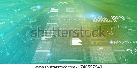 digital futuristic technology in smart argriculture farm using ai artificial intelligence, machine learning, digital twin, 5g, big data, iot, augmented mixed virtual reality, ar, vr,robot,digital  Royalty-Free Stock Photo #1740557549