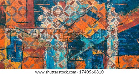 Architectural Vector Design, Colorful Floral Abstract for Wall Tiles Designing