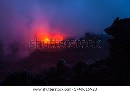 Lava lake pictured at the dawn
