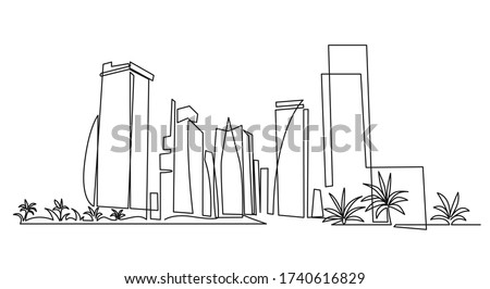 Modern cityscape continuous one line vector drawing. Metropolis architecture panoramic landscape. Dubai skyscrapers hand drawn silhouette. Apartment buildings isolated minimalistic illustration Royalty-Free Stock Photo #1740616829
