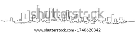 Modern cityscape continuous one line vector drawing. Metropolis architecture panoramic landscape. New York skyscrapers hand drawn silhouette. Apartment buildings isolated minimalistic illustration. Royalty-Free Stock Photo #1740620342