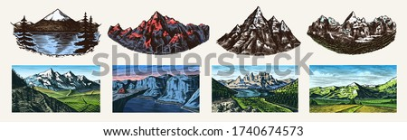 Mountain landscape backgrounds set. Alpine peaks. Vintage Mount. Travel concept. Hand drawn engraved sketch for outdoor posters, climbing banners, logo or badge.  Royalty-Free Stock Photo #1740674573