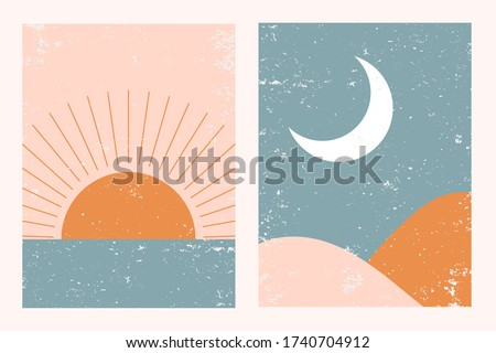Abstract contemporary aesthetic backgrounds landscapes set with Sun, Moon, sea, mountains. Earth tones, pastel colors. Boho wall decor. Mid century modern minimalist art print. Flat abstract design. #1740704912