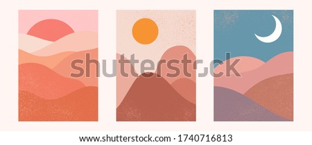Abstract contemporary aesthetic backgrounds landscapes set with sunrise, sunset, night. Earth tones, pastel colors. Boho wall decor. Mid century modern minimalist art print. Flat design. #1740716813