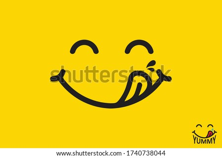 Yummy face smiley icon delicious with tongue lick mouth, tasty food eating emoticon face on yellow background, tasty emoji with saliva drops, smile vector cartoon line style #1740738044