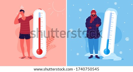 Meteorology thermometers. Heat and cold weather vector illustration. Cartoon characters in summer and winter season. #1740750545