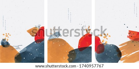 Abstract arts background with Japanese wave pattern vector. Art landscape template with nature elements. Art acrylic decoration.