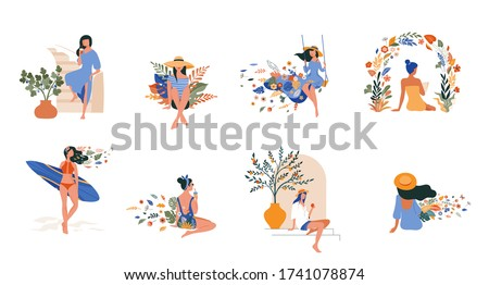 Vacation mood, feminine concept illustration, beautiful women in different situations, on the beach, sitting near the pool, reading books. Flat style vector design #1741078874