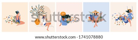 Vacation mood, feminine concept illustration, beautiful women in different situations, on the beach, sitting near the pool, reading books. Flat style vector design #1741078880