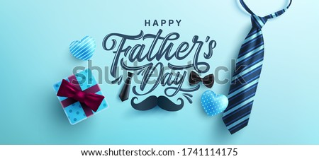 Father's Day poster or banner template with necktie and gift box on blue background.Greetings and presents for Father's Day in flat lay styling.Promotion and shopping template for love dad #1741114175