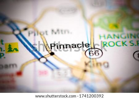 Pinnacle. North Carolina. USA on a geography map