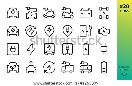 Electric car outline vector icon. Set of e car, electric bus, truck, vehicle, auto, charge station parking, engine, plug, battery, eco transport, autopilot, smart car isolated editable stroke icon #1741265399