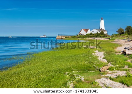 Beautiful Lynde Point Lighthouse, Old Saybrook, Connecticut, USA Royalty-Free Stock Photo #1741331045