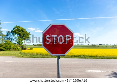 A stop sign in front of a rapeseed field and a blue sky.