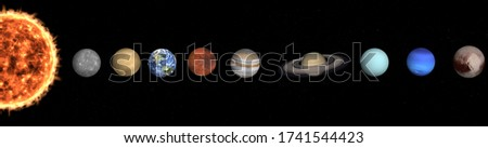 Solar system planets in outer space. Mercury, Venus, Earth, Mars, Jupiter, Saturn, Uranus, Neptune, Pluto. Planetary system concept. Elements of this image were furnished by NASA.