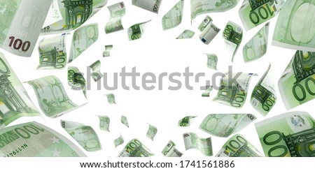 Counting euro banknote falling isolated. Money cash texture on white background. Royalty-Free Stock Photo #1741561886