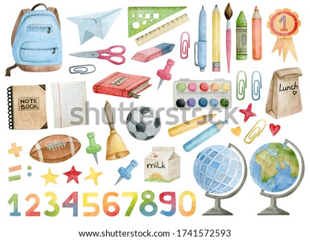 Watercolor set with school and office supplies and tools. Backpack, globe, pencil, ruler, notebook, lunch, scissors, eraser, brush, medal, paper, bell, ball, soccer, numbers. Elements for decorations.