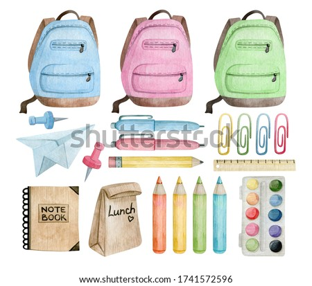 Watercolor set with school and office supplies and tools. Backpack, pen, pencil, paper clip, paints, ruler, notebook, lunch. Items needed for education.