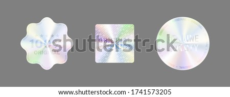 Round Hologram Label Set Isolated On White. Geometric Holographic Label For Award Design, Product Guarantee, Sticker Design. Vector Hologram Sticker Collection. Quality Holographic Sticker Set. #1741573205