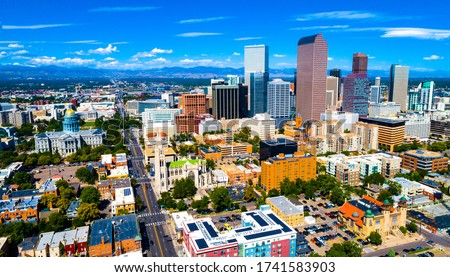 Denver Colorado skyline cityscape during sunny day time afternoon