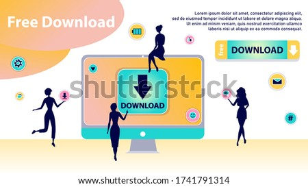 Free Download Concept. Characters Silhouettes Around of Huge Computer Transfering and Sharing Files, Using Torrent Servers Services. Online Media Shopping, People Lifestyle. Flat Vector Illustration
