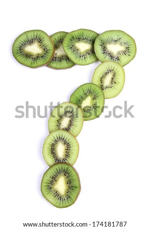 Letters and numbers alphabet of cut kiwi #174181787