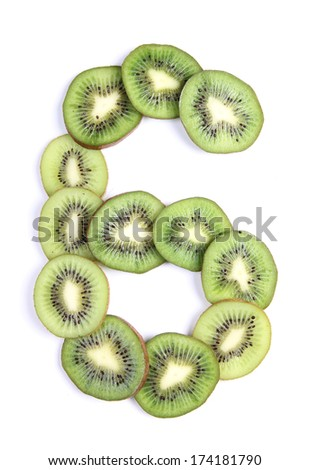 Letters and numbers alphabet of cut kiwi #174181790