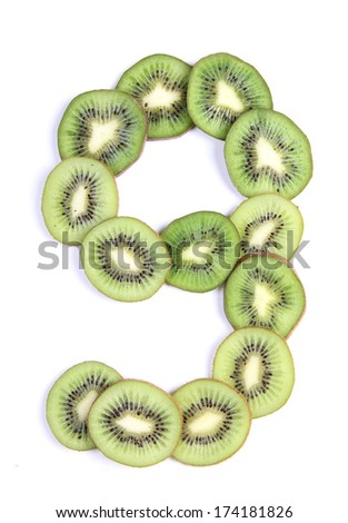 Letters and numbers alphabet of cut kiwi #174181826