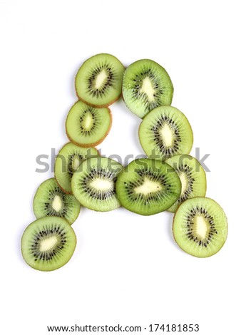 Letters and numbers alphabet of cut kiwi #174181853
